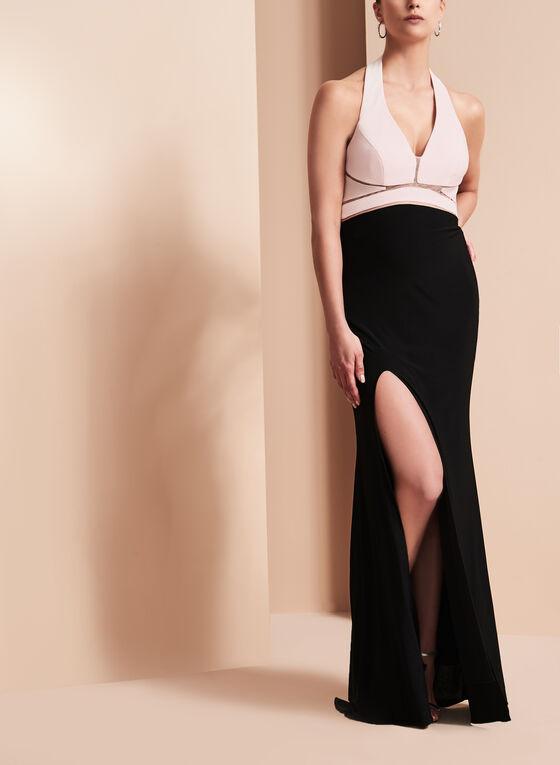 Jersey Illusion Waist Gown , Black, hi-res