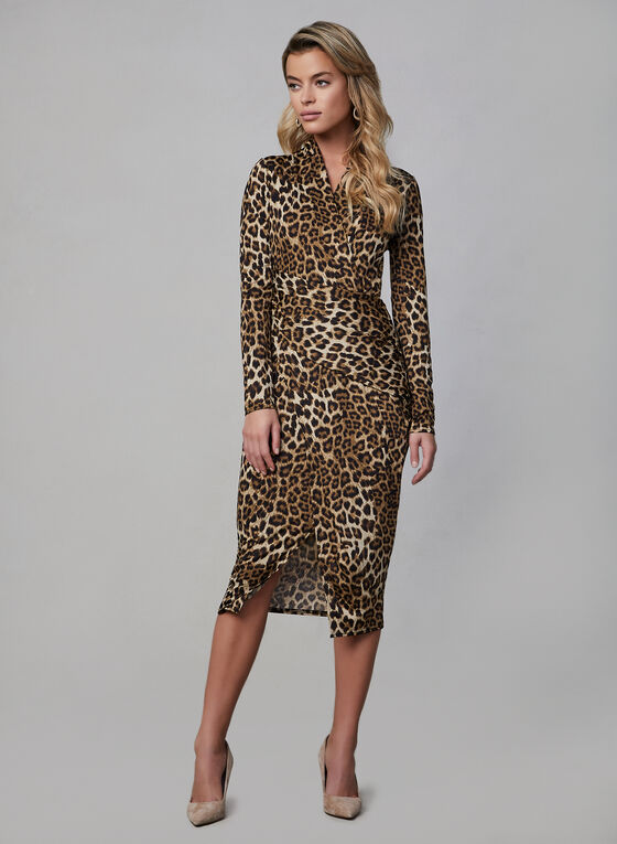 Joseph Ribkoff - Leopard Print Wrap Dress, Brown, hi-res