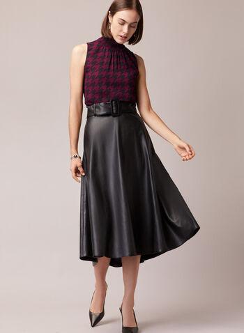 Jupe longue à ceinture en cuir végane, Noir,  jupe, longue, cuir végane, poche, ceinture, automne hiver 2020