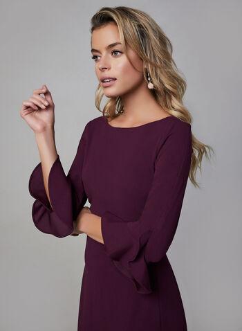 Karl Lagerfeld Paris - Tulip Sleeve Dress, Purple, hi-res,  karl lagerfeld, day dress, tulp sleeves, mid length, straight fit, boat neck, fall 2019, winter 2019