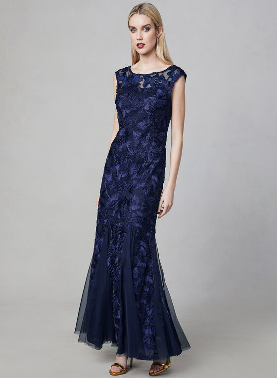 Alex Evenings - Embroidered Mermaid Gown, Blue, hi-res