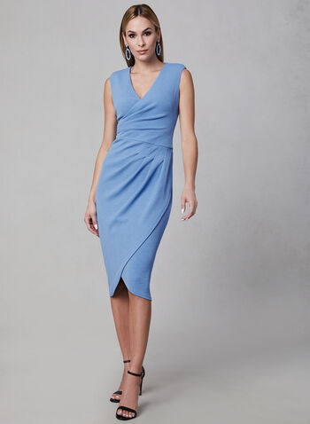 Adrianna Papell - Tulip Hem Midi Dress, Blue, hi-res