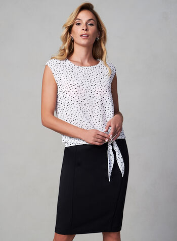 Chiffon Polka Dot Print Blouse, White,  canada, sleeveless, blouse, top, crew neck, polka dot, print, chiffon, fall 2019, winter 2019