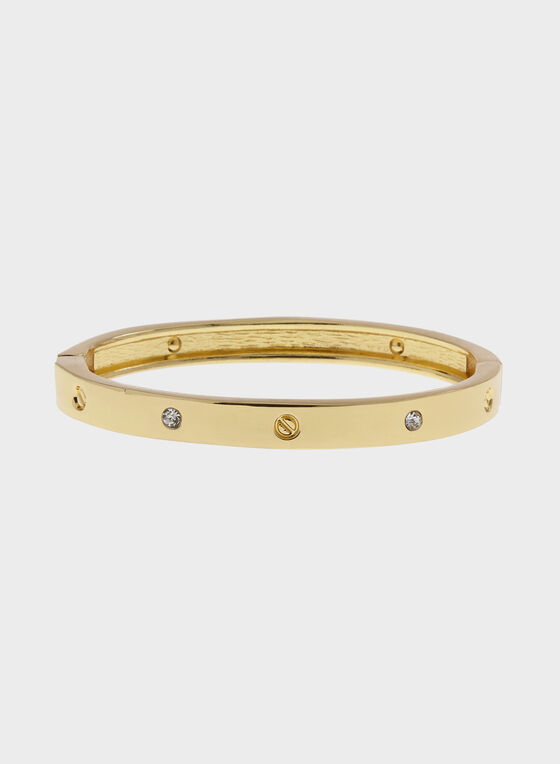 Crystal Studded Metal Hinge Bangle, Gold, hi-res