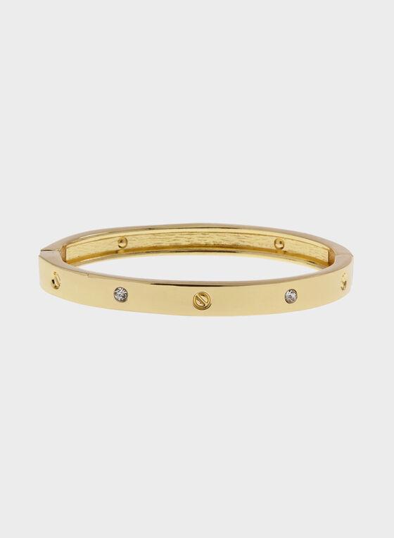 Bracelet rigide doré avec cristaux incrustés, Or, hi-res