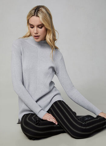 Funnel Neck Tunic Sweater, Blue,  sweater, knit, long sleeves, funnel neck, fall 2019, winter 2019