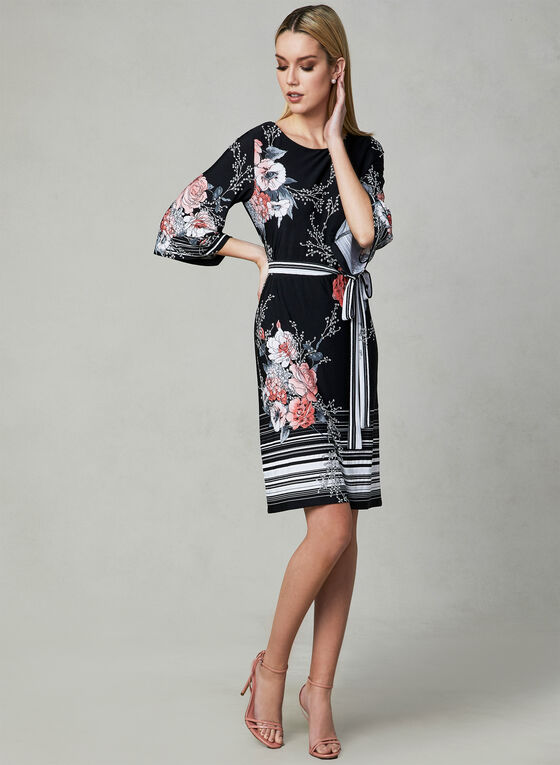 Sandra Darren - Floral Print Dress, Black, hi-res