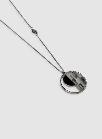 Collier long à pendentif circulaire, Noir, hi-res,  géométrique, automne hiver 2019
