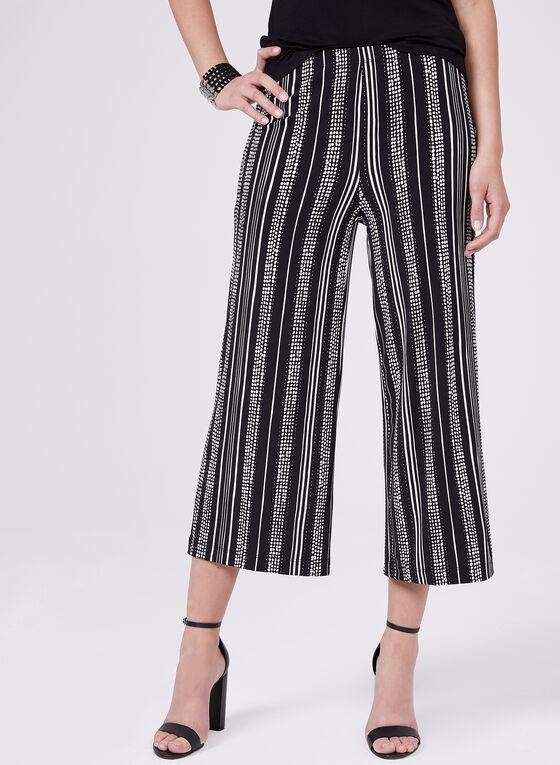 Pantalon à jambe large à motif pois et rayures, Noir, hi-res