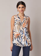 Watercolour Leaf Print Blouse, White