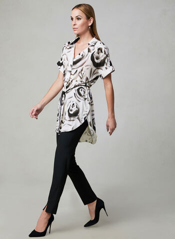Abstract Print Tunic Blouse, White, hi-res