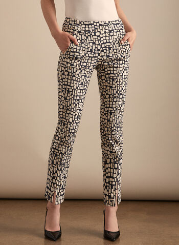 Abstract Print Pull-On Pants, Black,  pants, pull-on, abstract print, bengaline, ankle length, pockets, spring summer 2020
