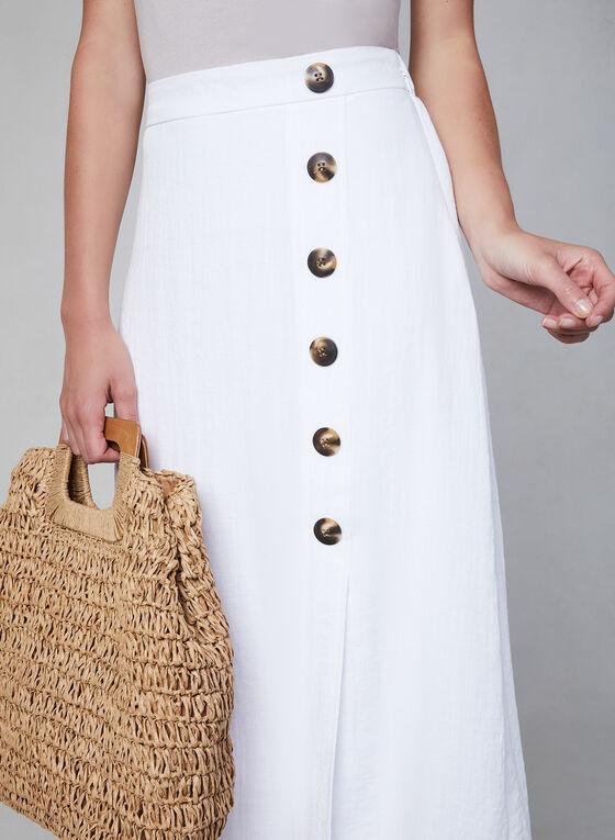 Button Detail Midi Skirt, White