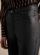 Pantalon aspect cuir à jambe étroite, Noir
