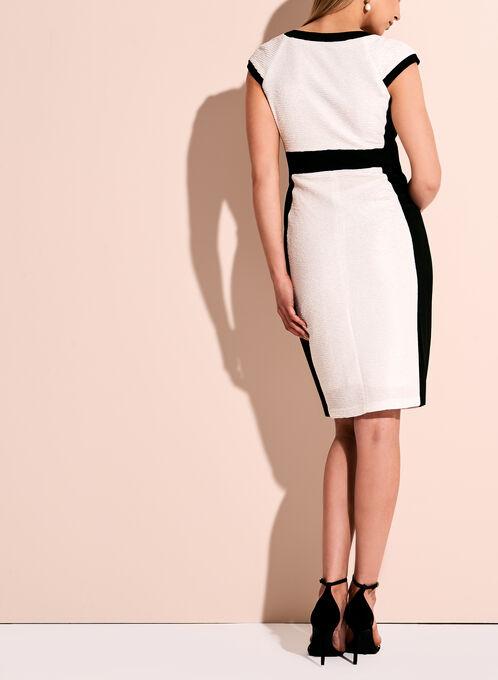 Jax Contrast Zipper Trim Dress, Off White, hi-res