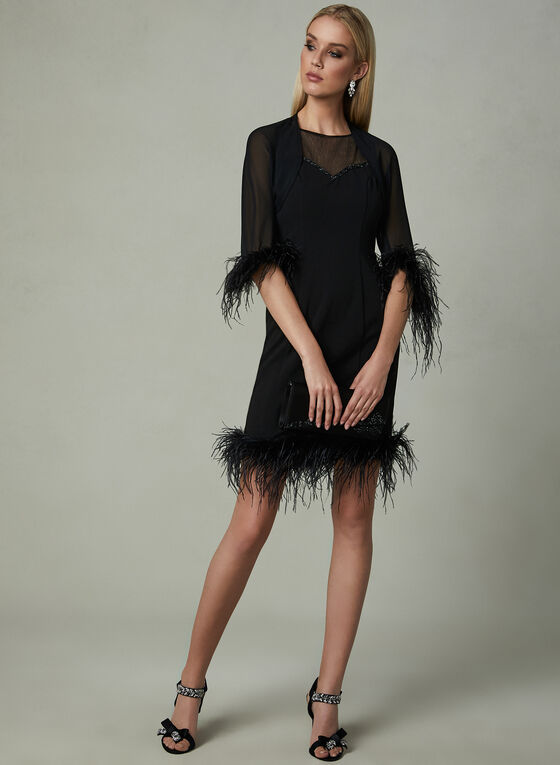LM Collection - Feather Trim Dress, Black, hi-res