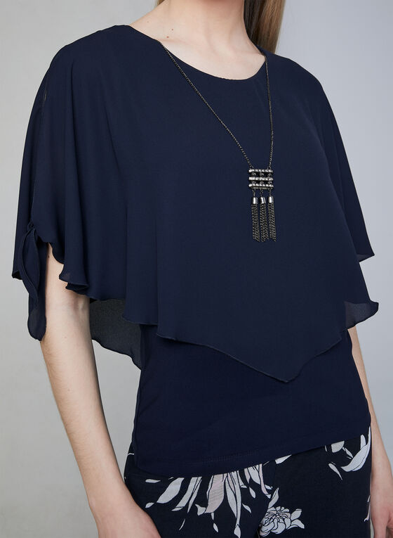 Frank Lyman - Poncho Blouse & Necklace, Blue, hi-res