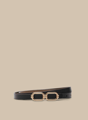 Metallic Buckle Belt, Black,  spring summer 2020, buckle metallic finish, faux-leather