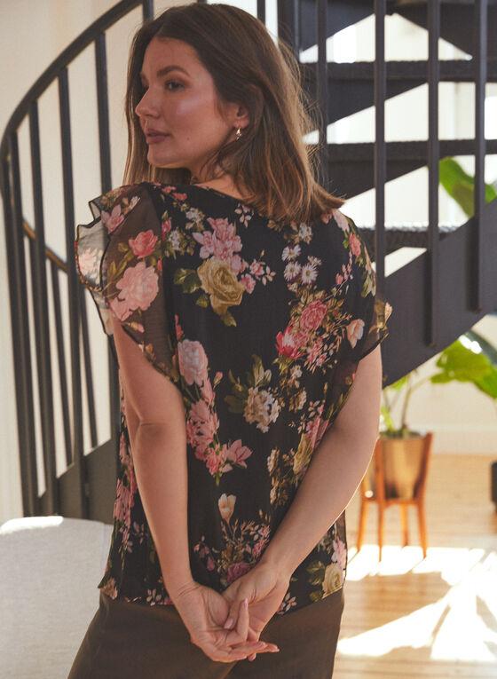 Vince Camuto - Floral Print Flutter Sleeve Blouse, Black