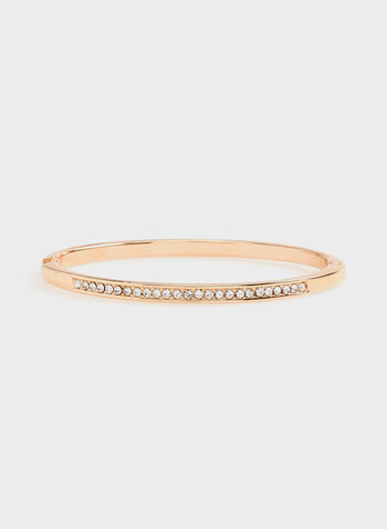 Crystal Embellished Metal Hinge Bangle, Pink, hi-res