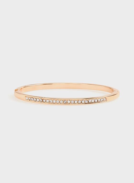 Bracelet doré serti de cristaux, Rose, hi-res