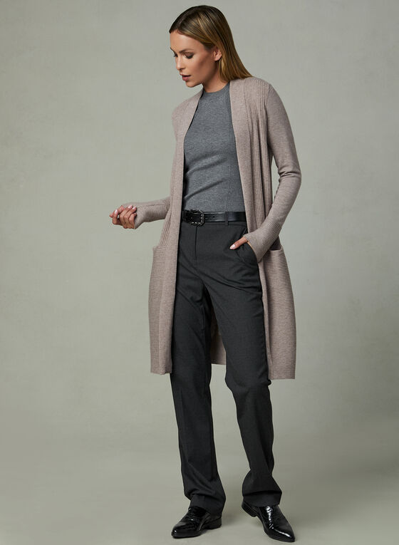 Long Open Front Cardigan , Off White, hi-res