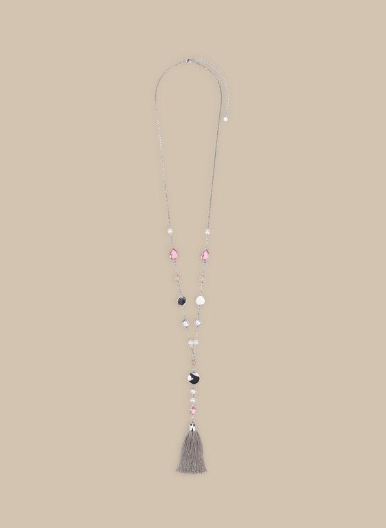Crystal Detail Y-Necklace, Silver