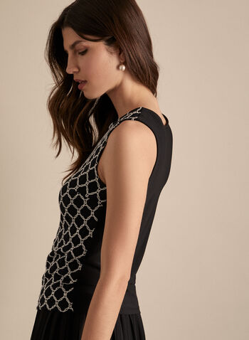 Frank Lyman - Crochet Detail Top, Black,  spring summer 2020, sleeveless, made in canada, crochet detail, jersey fabric