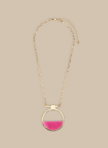 Short Pendant Necklace, Pink,  necklace, short necklace, pendant, pendant necklace, stone necklace, stone, spring 2020, summer 2020