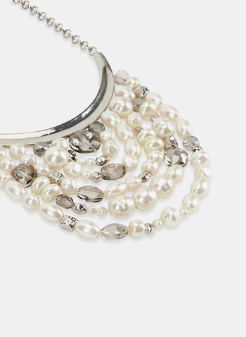 Pearl & Crystal Collar Necklace, Off White, hi-res
