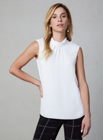 Sleeveless Crepe Top, Off White,  sleeveless, mock neck, pleated, pointed collar, fall 2019, winter 2019