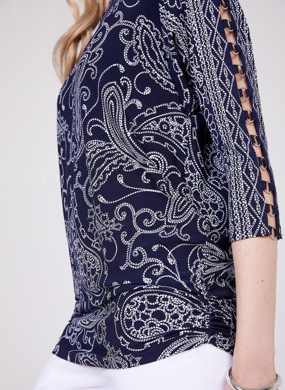 Paisley Print Blouse, Blue, hi-res