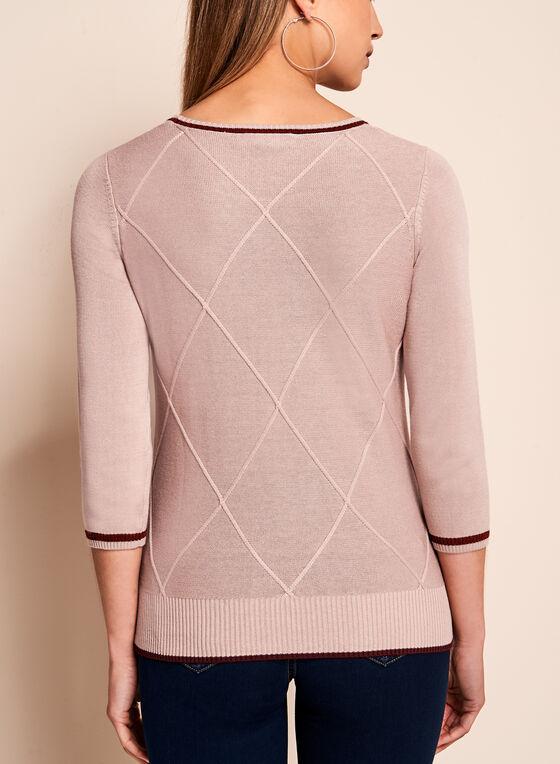 Pull en tricot côtelé à manches ¾, Blanc cassé, hi-res