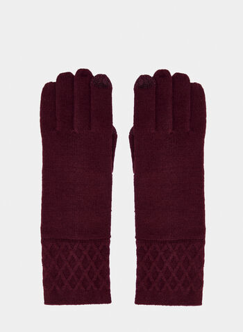 Diamond Cuff Pattern Gloves, Purple,  knit, gloves, diamond cuff pattern, fall 2019, winter 2019
