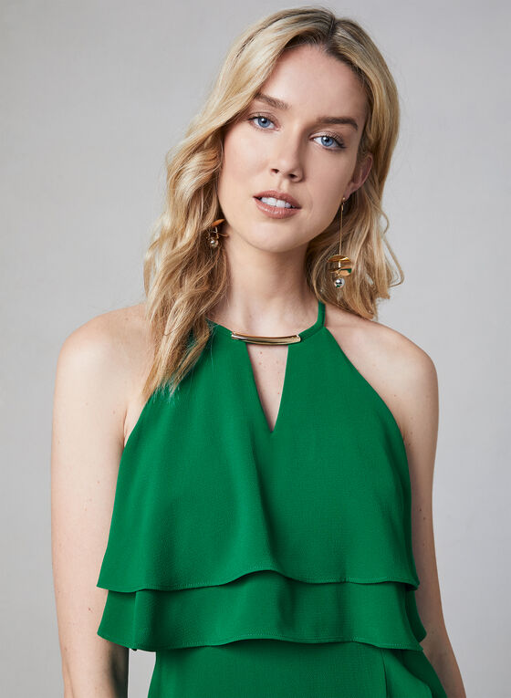 Kensie - Robe à encolure bijou et volants, Vert