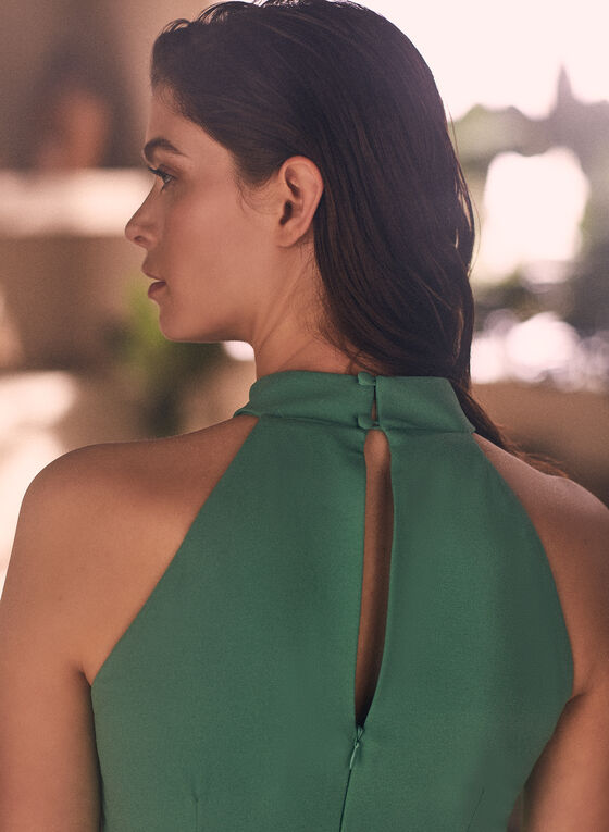 Belt Detail Halter Neck Jumpsuit, Green