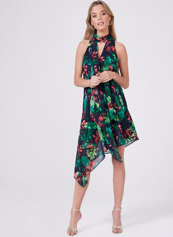 Maggy London - Floral Print Asymmetric Dress, Blue, hi-res