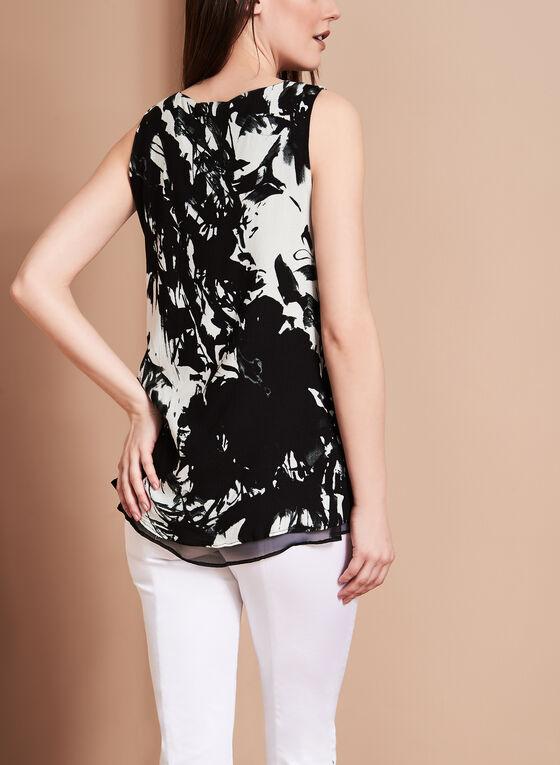 Linea Domani Abstract Floral Print Blouse, Black, hi-res