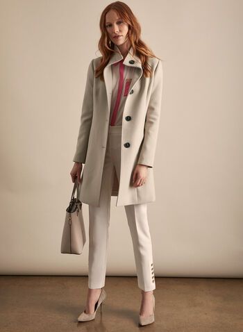 Stand Collar Button Front Coat, Off White,  coat, button front, high collar, long sleeves, shoulder pads, pockets, spring summer 2020