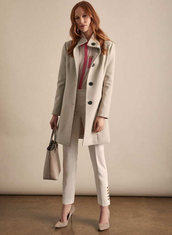 Stand Collar Button Front Coat, Off White