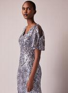 Alex Evenings - Floral Sequin Cold Shoulder Dress, Silver