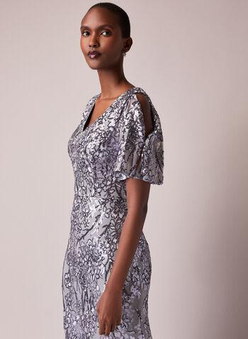 Alex Evenings - Floral Sequin Cold Shoulder Dress, Silver,  dress, evening, occasion, sequins, floral, cold shoulder, fall winter 2020