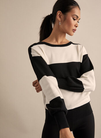 Striped Balloon Sleeve Sweater, Black,  knit, sweater, balloon sleeves, stripe print, striped sweater, fall 2019, winter 2019