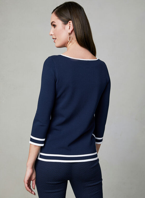 Contrast Border ¾ Sleeve Top, Blue, hi-res
