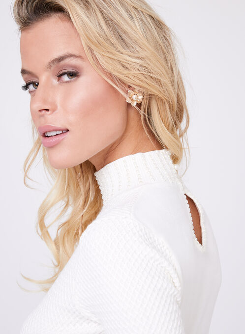 Pearl Mock Neck Knit Sweater, Off White, hi-res