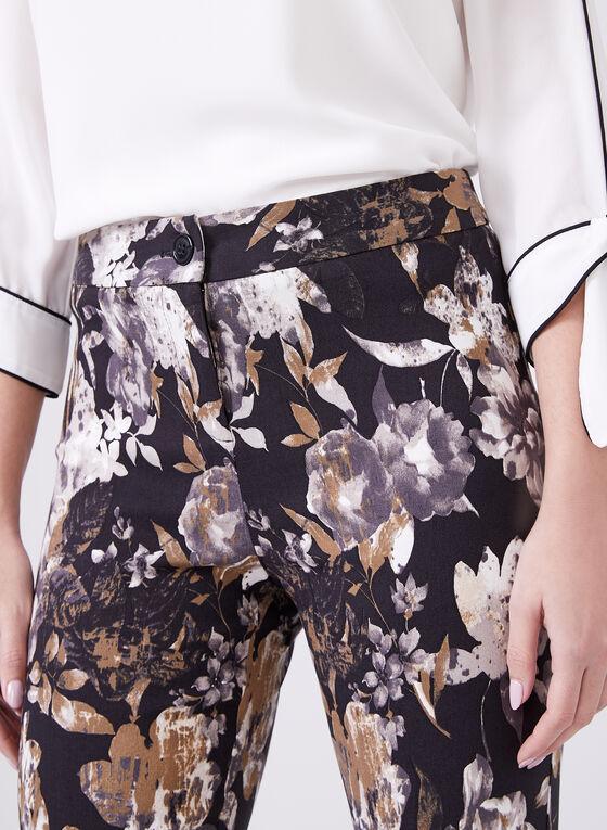 Pantalon fleuri longueur cheville à jambe droite, Noir, hi-res
