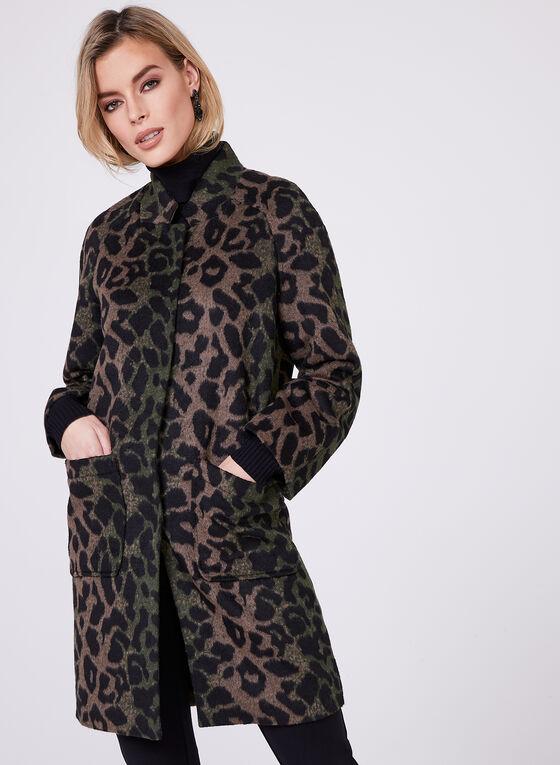 Animal Print Wool Blend Coat, Multi, hi-res