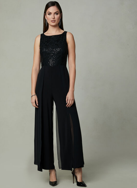 Maggy London - Sequin Lace Jumpsuit, Black, hi-res