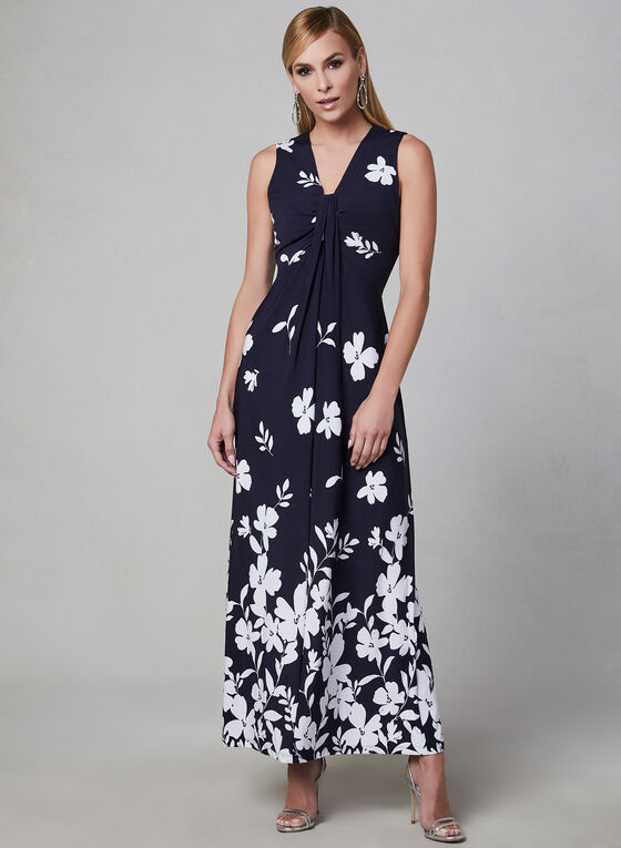 Sandra Darren - Floral Print Maxi Dress, Blue