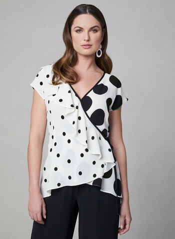 Polka-Dot Print Top, White, hi-res,  Spring 2019, crepe, surplice, polka-dot, short sleeves